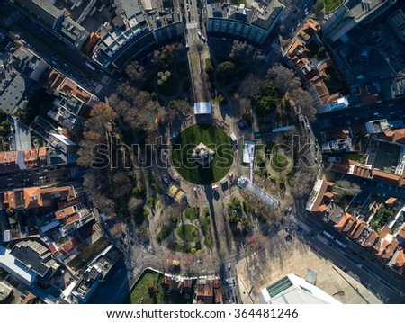 Top View of Rotunda da Boavista, Porto, Portugal - stock photo