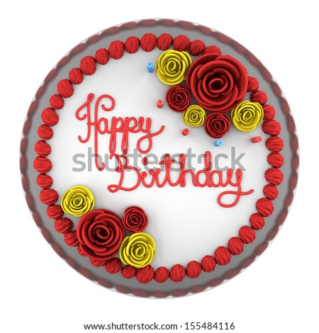 top view of round birthday cake with candles on dish isolated on white background - stock photo