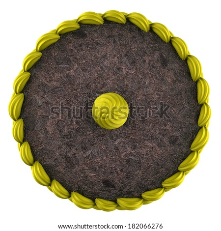 top view of round chocolate cake with yellow cream isolated on white background - stock photo