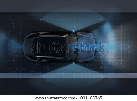Top view of self-driving SUV on the road with sensing graphic pattern retouched. night traffic.  3D rendering image.