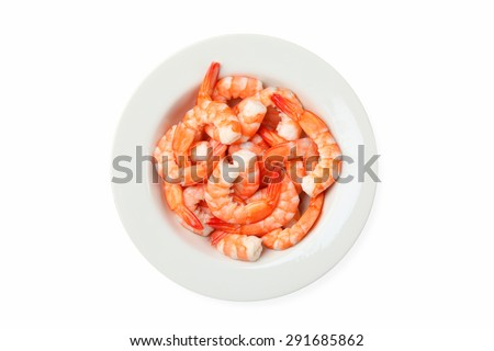 Top view of shrimps on a plate isolated on white background - stock photo