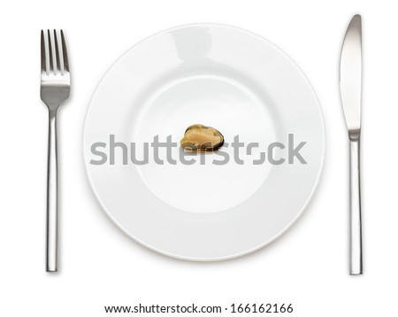 Top view of single mussel on a plate with fork and knife. Isolated on white background. - stock photo