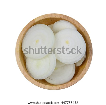Top view of slice onion in wooden bowl on white background. - stock photo