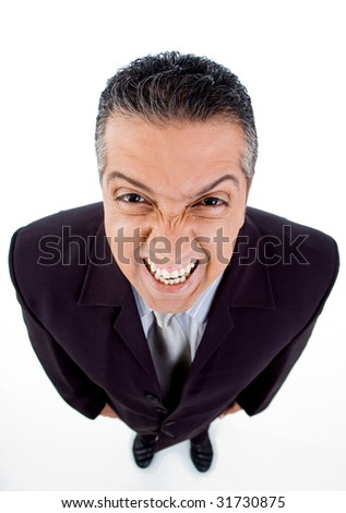 top view of smiling manager on white background - stock photo