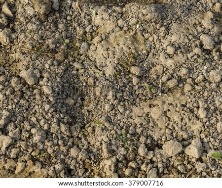 Top view of soil ground at the farmland in the countryside of Viet Nam. Seamless texture. Agricultural and rural background. - stock photo