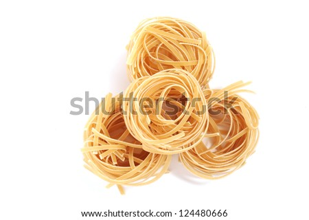 Top view of some noodles, isolated on white - stock photo