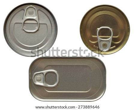 Top view of some tin cans isolated over white - stock photo
