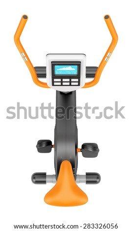top view of stationary exercise bike isolated on white background - stock photo