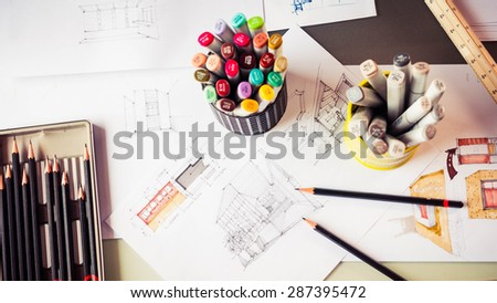 Top View Of Stationery Tool Element And Sketching Interior Design