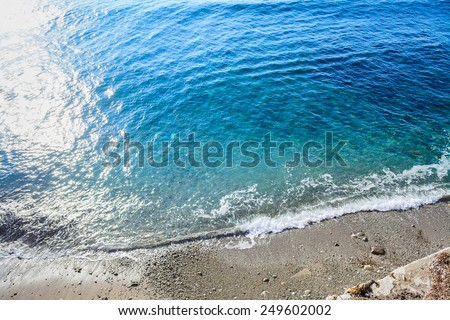 top view of sun reflection in the sea. Shot in Alghero, Italy - stock photo