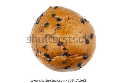 Top View Of Sweet Bun And Chocolate Bread Isolated On White Background