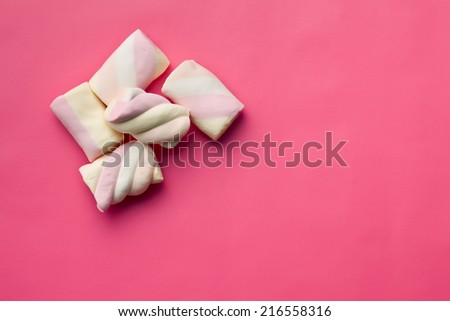 top view of sweet marshmallow on pink background - stock photo