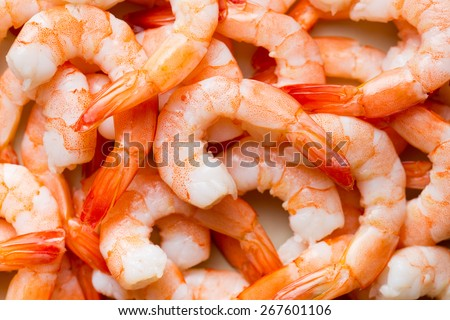 top view of tasty prawns - stock photo