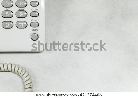 Top view of telephone on office desk - copyspace - stock photo