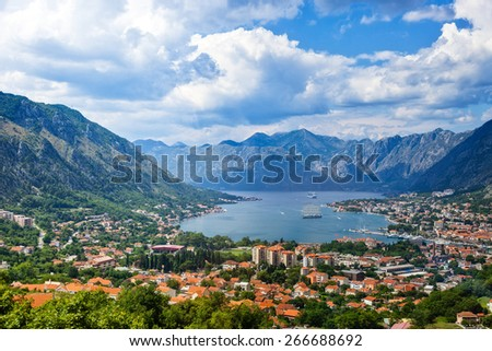 Top view of the Bay of Kotor panorama, Montenegro.