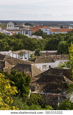 Top view of the historical old town of Faro, Portugal. - stock photo