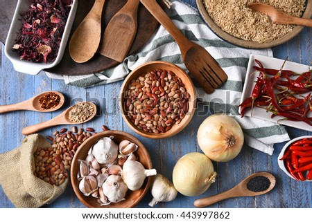 Top view of the ingredients for making a hot and spicy meal.  - stock photo