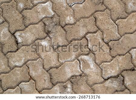 Top view of the interlocking concrete pavement. - stock photo