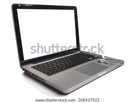 Top view of the keyboard of the laptop on white Desk with headphones isolated on white
