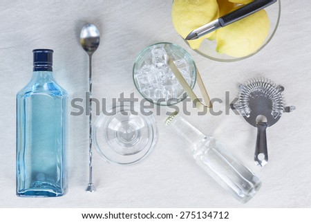 top view of the necessary elements to prepare a perfect gin tonic cocktail - useful as a background - focus on the ice bucket - stock photo
