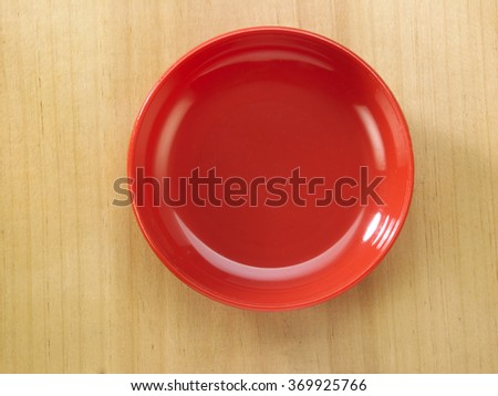 top view of the red saucer - stock photo