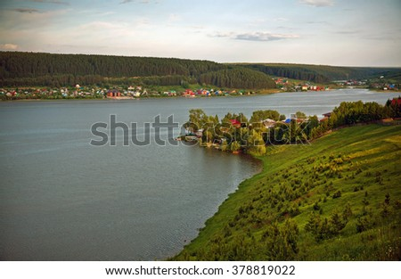 Top view of the river near Mikhailovsk, Russia