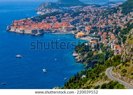 Top view of the seacoast of Dubrovnik, Croatia. - stock photo