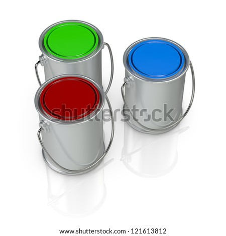 top view of three paint cans with caps in different colors (3d render) - stock photo