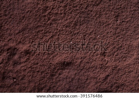 Top view of Tiramisu with cacao powder on it. Close up of cacao surface and texture - stock photo