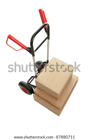 Top view of trolley with cardboard boxes on white background - stock photo
