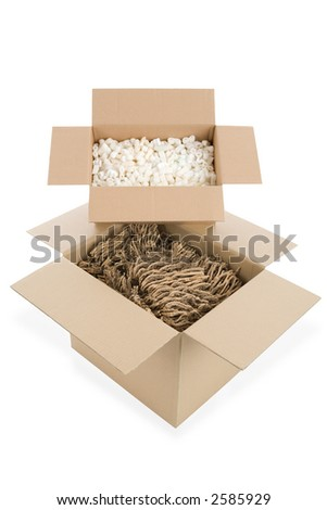top view of two filled cardboard boxes isolated on white background - stock photo