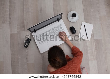 top view of using keyboard woman - stock photo