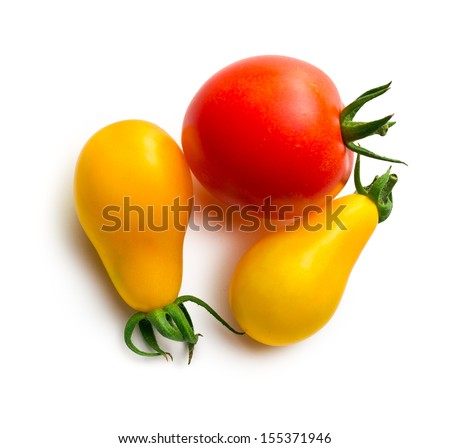 top view of various tomatoes on the white background - stock photo