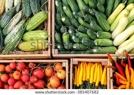Top view of vegetable in wood box - stock photo