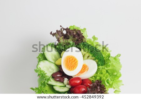 Top view of vegetable salad isolated on white background. with copy space for write text.