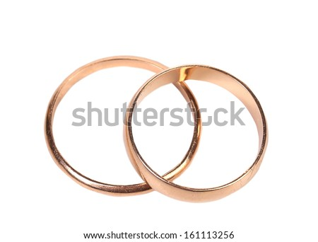 Top view of wedding rings. Isolated on a white background. - stock photo