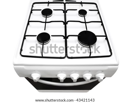 top view of white gas stove with ipen stove over the white background - stock photo