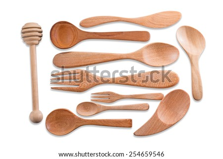 Top view of wood spoon and stick as utensils isolated over white.ready for your design. The file includes a clipping path so it is easy to work  - stock photo