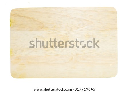 Top View of Wooden Cutting Board in Rectangular Forms on isolate White Background, For Carrying Things,You can put text or objects. - stock photo