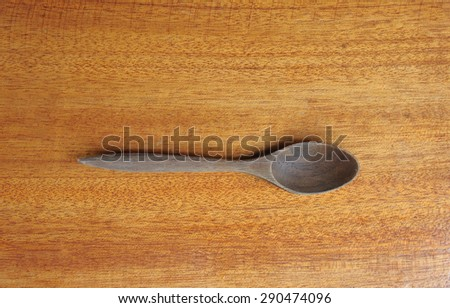 top view of wooden spoon - stock photo