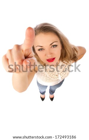 Top view of young attractive woman - stock photo