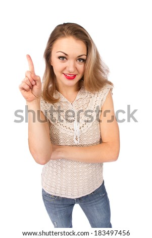 Top view of young attractive woman showing finger up isolated on white - stock photo