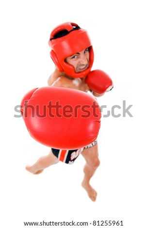 Top view of young Boxer fighter with boxing helmet and gloves over white background. ( Focus on the gloves).