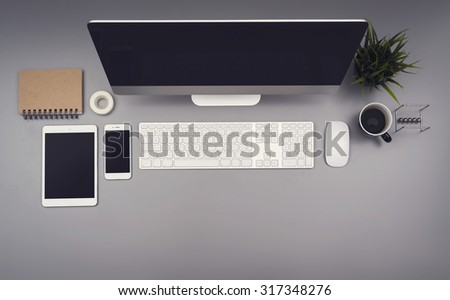 Top view office responsive design - stock photo