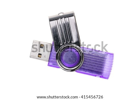 Top view old USB stick and broken on white background - stock photo