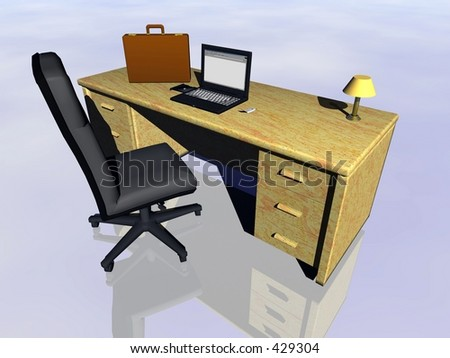 Top view on a bureau with laptop, cell phone  and briefcase.  Bryce creation.