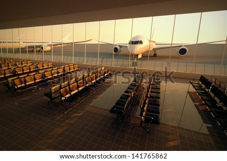 Top view on a modern airport terminal with black leather seats at sunset. A huge viewing glass facade with a passenger aircraft behind it. - stock photo