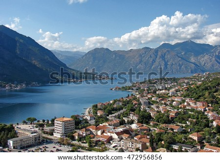 Top view on  bay with old town of Kotor, Montenegro.