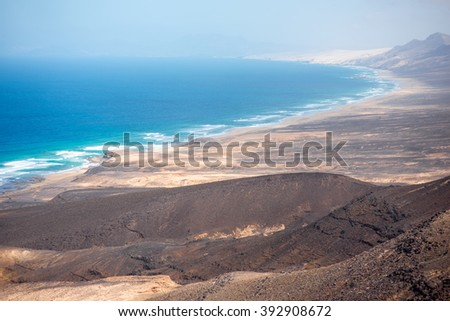 Top view on Cofete coastline the longest beach on Canary island - stock photo