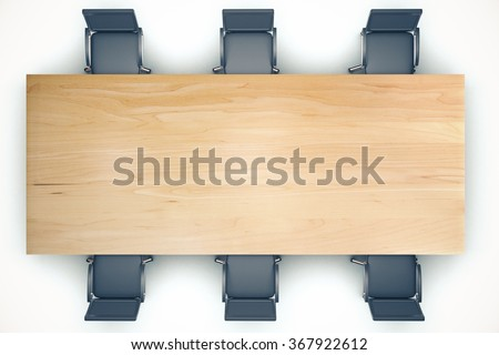 Top view on conference wooden table and black chairs 3D Render - stock photo